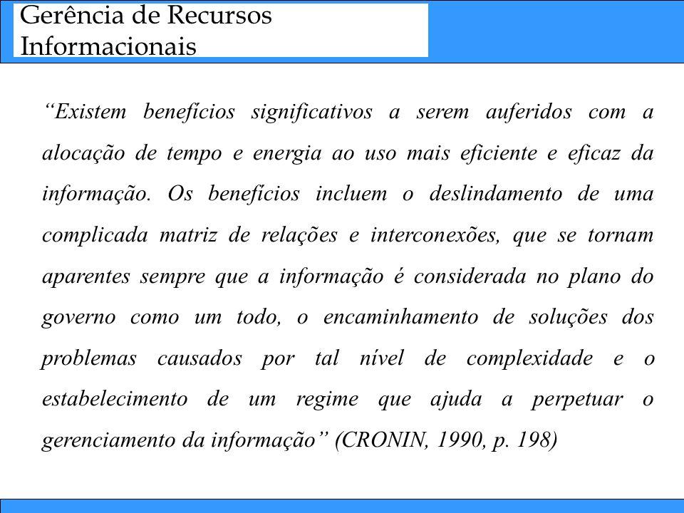 Ciclo de Gerência da Informação Organização e Armazenamento Informação Gestão de Documentos: –Duplicação de esforços se torna algo comum.