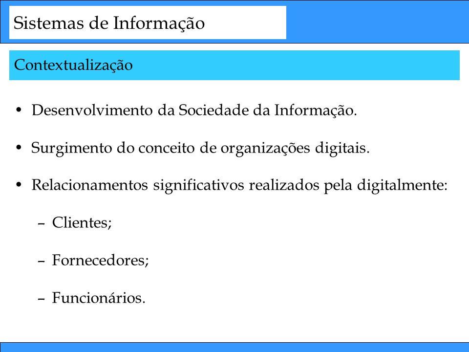 Sistemas de Informação Desenvolvimento da Sociedade da Informação. Surgimento do conceito de organizações digitais. Relacionamentos significativos rea