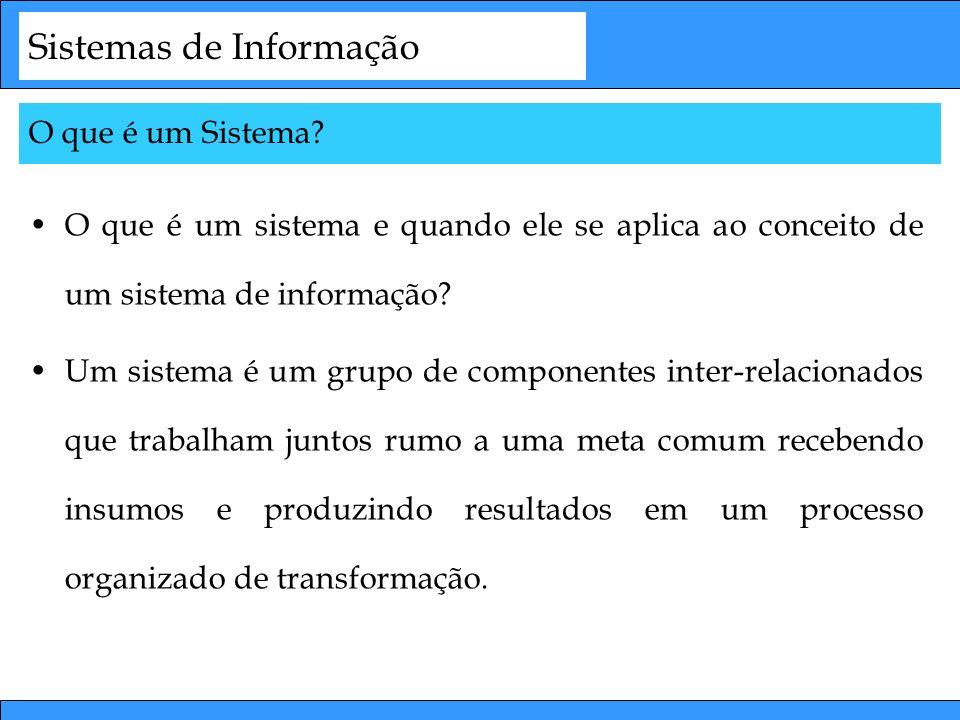 Sistemas de Informação O que é um sistema e quando ele se aplica ao conceito de um sistema de informação? Um sistema é um grupo de componentes inter-r