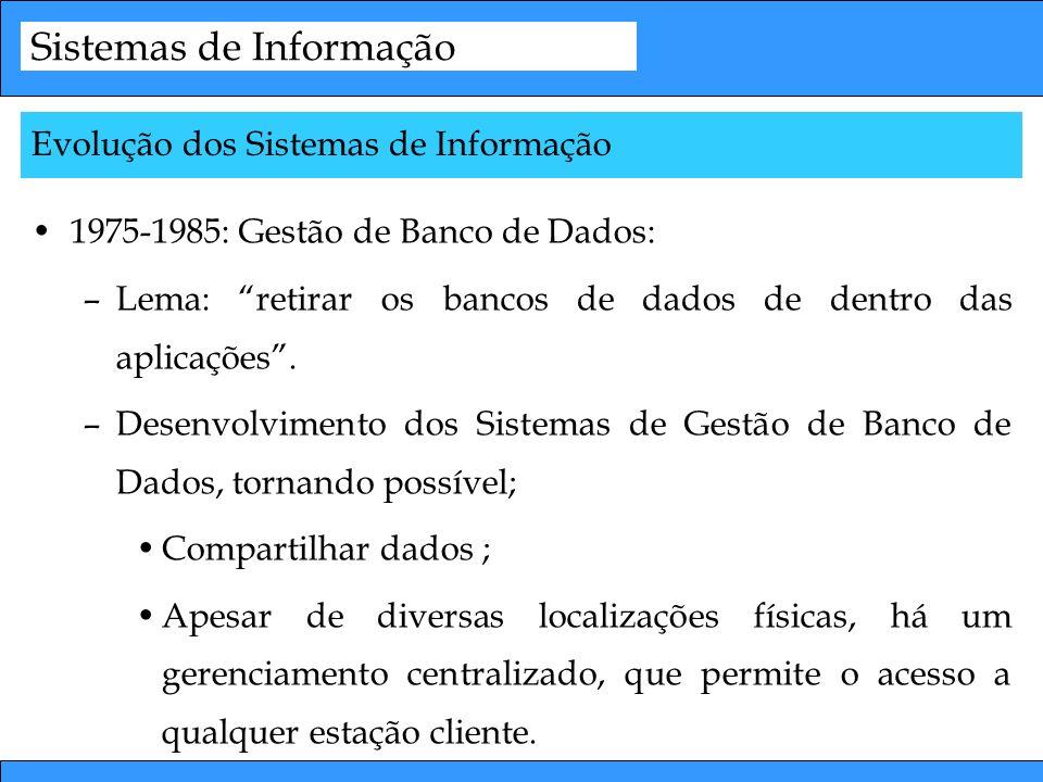 Sistemas de Informação 1975-1985: Gestão de Banco de Dados: –Lema: retirar os bancos de dados de dentro das aplicações. –Desenvolvimento dos Sistemas