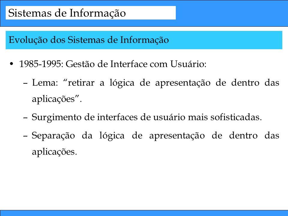 Sistemas de Informação 1985-1995: Gestão de Interface com Usuário: –Lema: retirar a lógica de apresentação de dentro das aplicações. –Surgimento de in