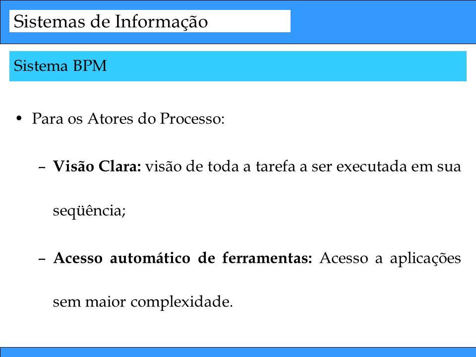 Sistemas de Informação Para os Atores do Processo: – Visão Clara: visão de toda a tarefa a ser executada em sua seqüência; – Acesso automático de ferr