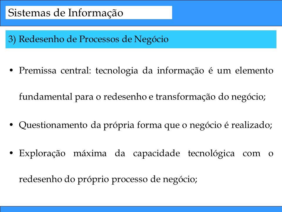 Sistemas de Informação Premissa central: tecnologia da informação é um elemento fundamental para o redesenho e transformação do negócio; Questionament