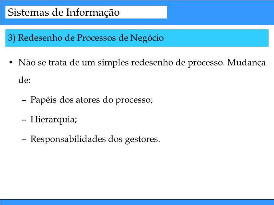Sistemas de Informação Não se trata de um simples redesenho de processo. Mudança de: –Papéis dos atores do processo; –Hierarquia; –Responsabilidades d