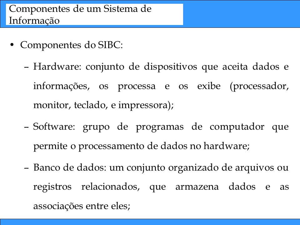 Componentes de um Sistema de Informação Componentes do SIBC: –Hardware: conjunto de dispositivos que aceita dados e informações, os processa e os exib