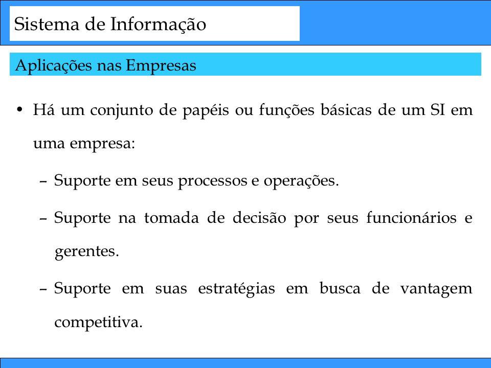 Sistema de Informação Há um conjunto de papéis ou funções básicas de um SI em uma empresa: –Suporte em seus processos e operações. –Suporte na tomada
