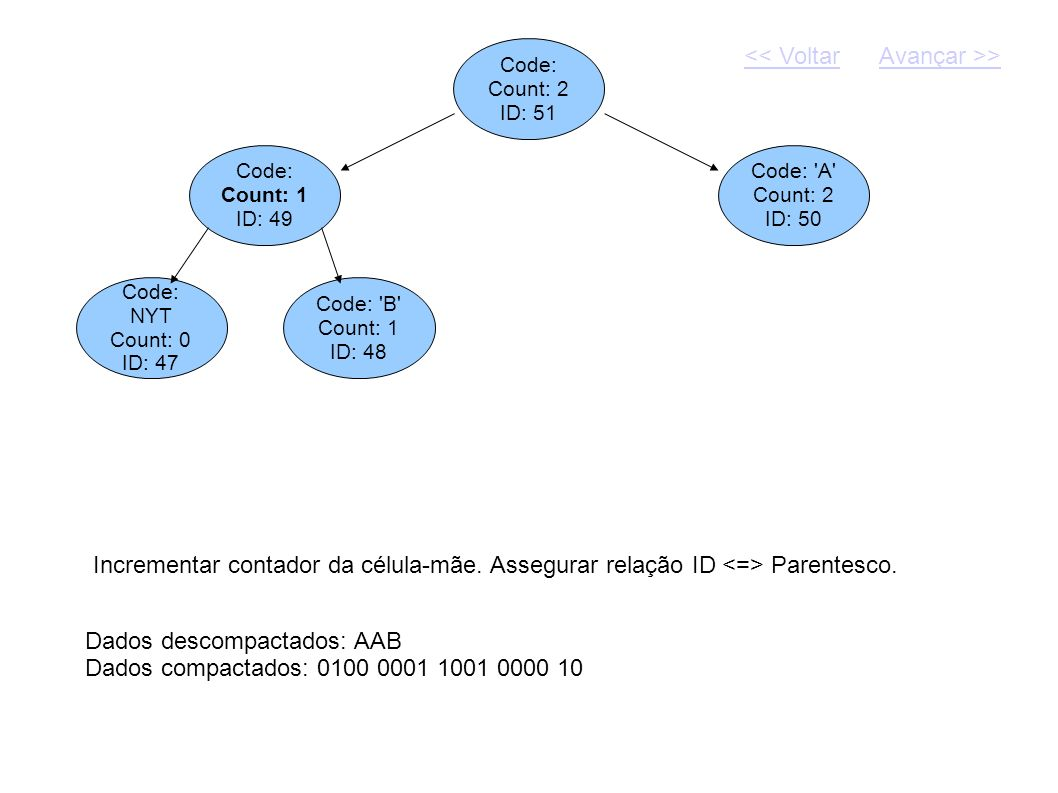 Code: Count: 2 ID: 51 Dados descompactados: AAB Dados compactados: 0100 0001 1001 0000 10 Code: Count: 1 ID: 49 Code: 'A' Count: 2 ID: 50 Incrementar