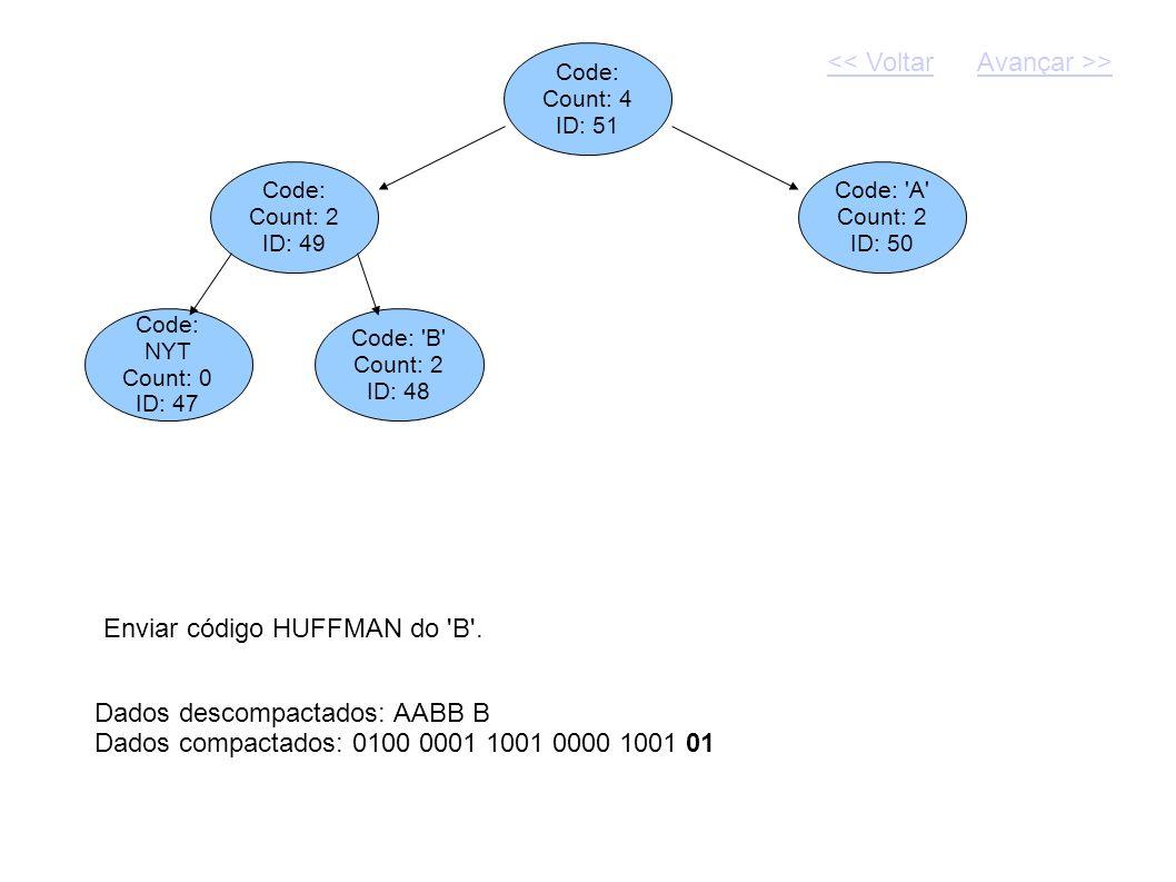 Code: Count: 4 ID: 51 Dados descompactados: AABB B Dados compactados: 0100 0001 1001 0000 1001 01 Code: Count: 2 ID: 49 Code: 'A' Count: 2 ID: 50 Envi