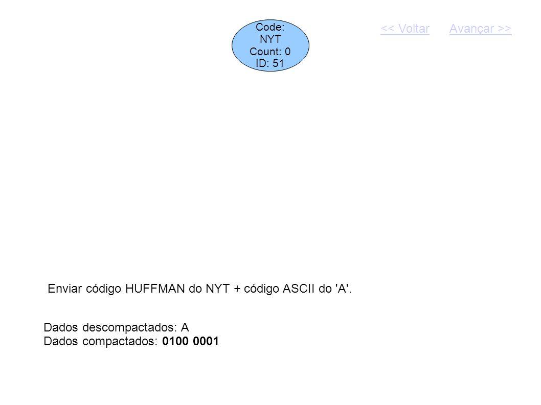 Code: NYT Count: 0 ID: 51 Dados descompactados: A Dados compactados: 0100 0001 Enviar código HUFFMAN do NYT + código ASCII do 'A'. << VoltarAvançar >>