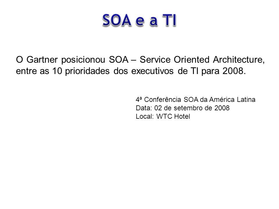 O Gartner posicionou SOA – Service Oriented Architecture, entre as 10 prioridades dos executivos de TI para 2008. 4ª Conferência SOA da América Latina