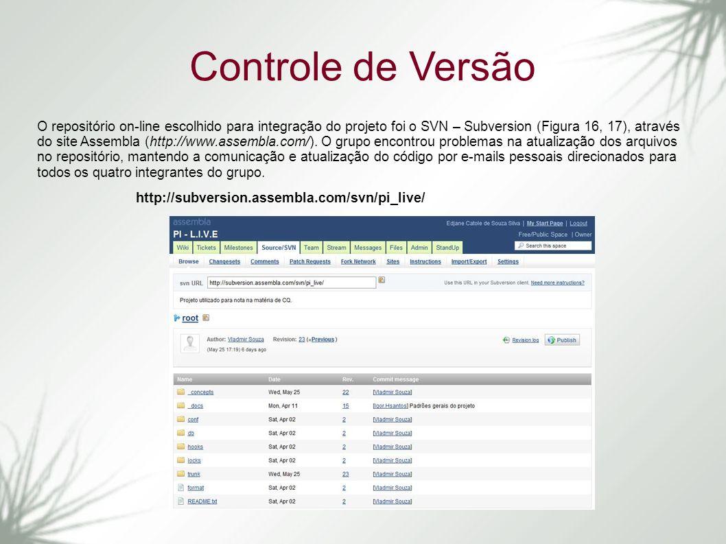 Controle de Versão O repositório on-line escolhido para integração do projeto foi o SVN – Subversion (Figura 16, 17), através do site Assembla (http:/