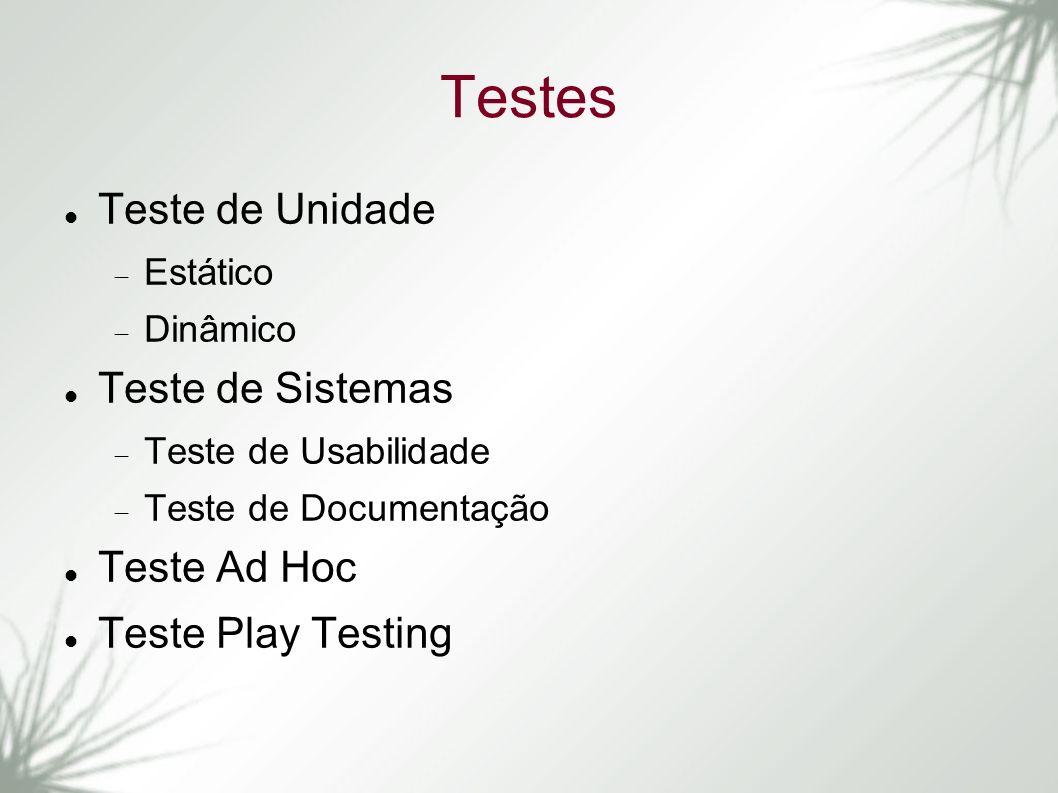 Testes Teste de Unidade Estático Dinâmico Teste de Sistemas Teste de Usabilidade Teste de Documentação Teste Ad Hoc Teste Play Testing
