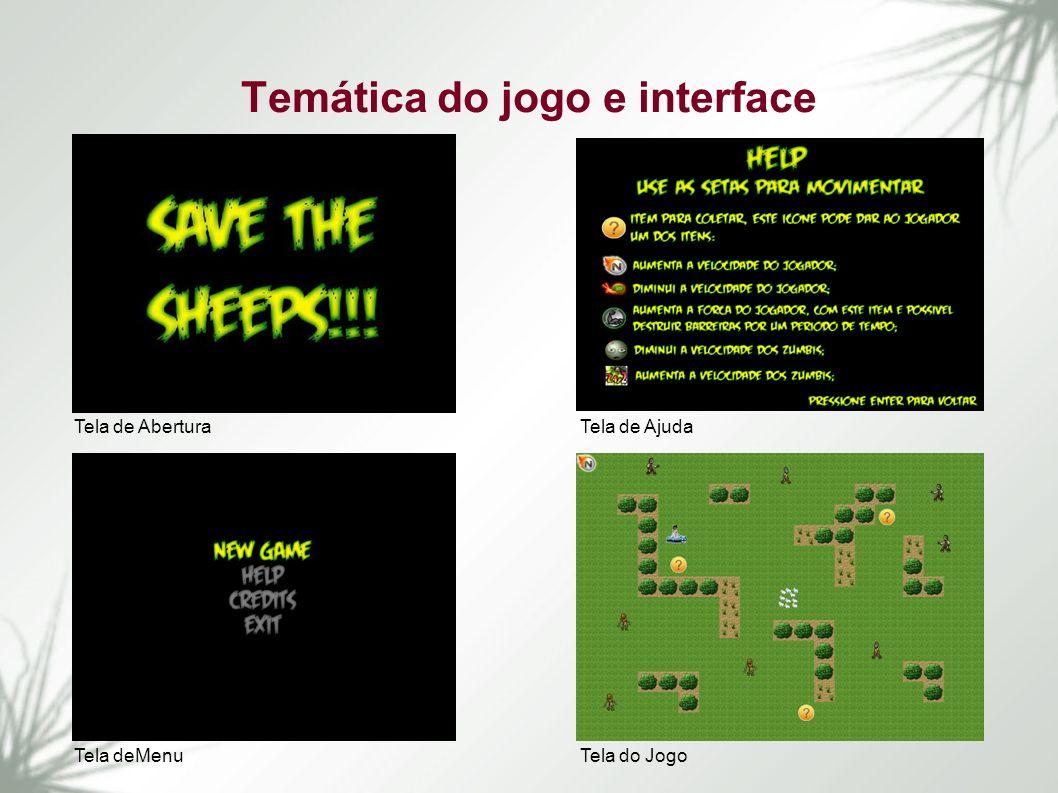 Temática do jogo e interface Tela de Abertura Tela deMenu Tela de Ajuda Tela do Jogo