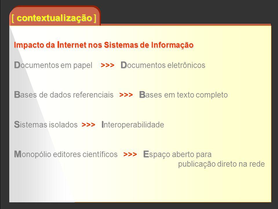 [ contextualização ] Impacto da I nternet nos Sistemas de Informação DD D ocumentos em papel >>> D ocumentos eletrônicos BB B ases de dados referencia