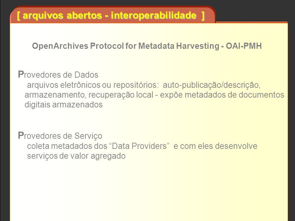[ arquivos abertos - interoperabilidade ] P rovedores de Dados arquivos eletrônicos ou repositórios: auto-publicação/descrição, armazenamento, recuper