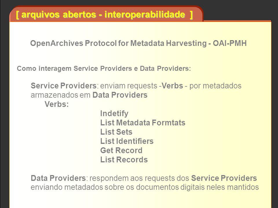 [ arquivos abertos - interoperabilidade ] Como interagem Service Providers e Data Providers: Service Providers: enviam requests -Verbs - por metadados