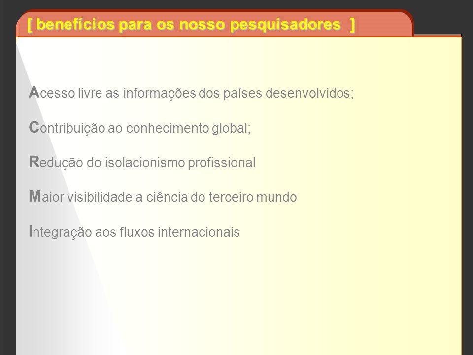 [ benefícios para os nosso pesquisadores ] A cesso livre as informações dos países desenvolvidos; C ontribuição ao conhecimento global; R edução do is