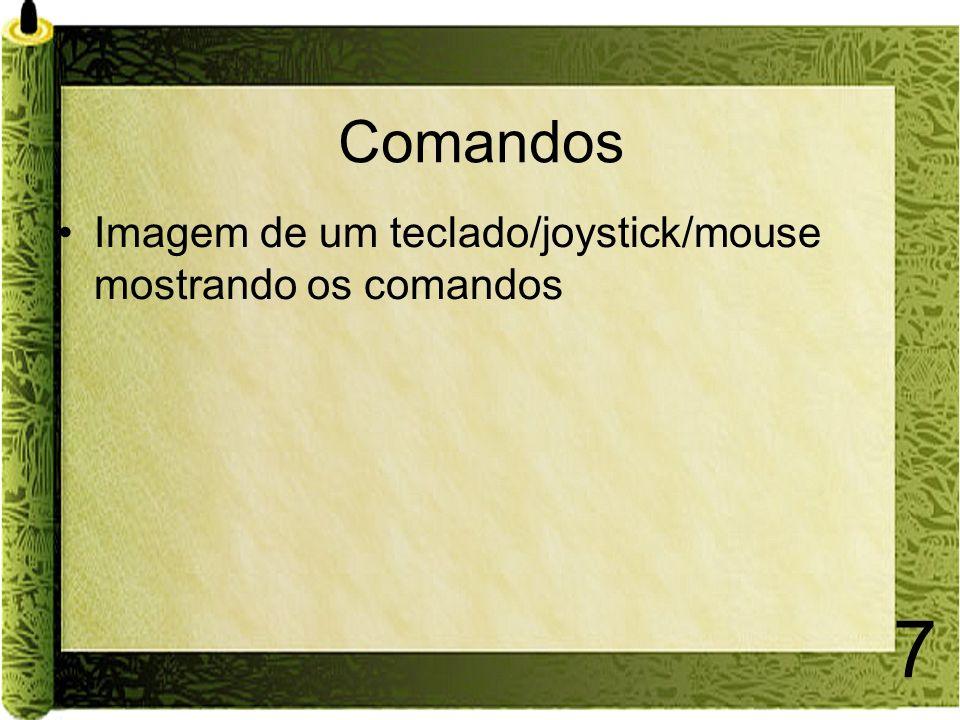 7 Comandos Imagem de um teclado/joystick/mouse mostrando os comandos