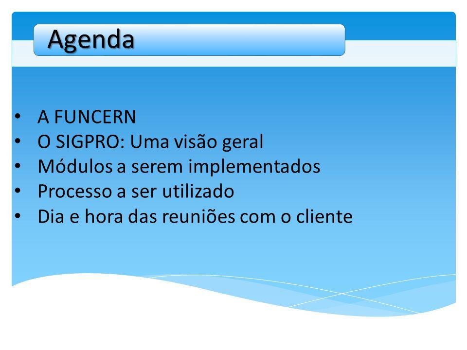 A FUNCERN O SIGPRO: Uma visão geral Módulos a serem implementados Processo a ser utilizado Dia e hora das reuniões com o cliente Agenda