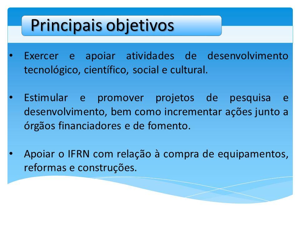 Exercer e apoiar atividades de desenvolvimento tecnológico, científico, social e cultural. Estimular e promover projetos de pesquisa e desenvolvimento