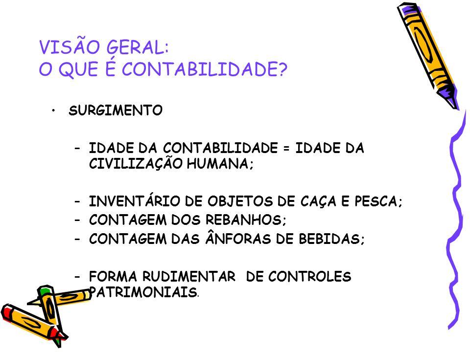 VISÃO GERAL: O QUE É CONTABILIDADE.CONCEITOS Muitos são os conceitos sobre Contabilidade.