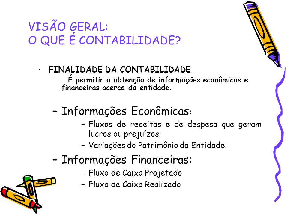 VISÃO GERAL: O QUE É CONTABILIDADE? FINALIDADE DA CONTABILIDADE É permitir a obtenção de informações econômicas e financeiras acerca da entidade. –Inf