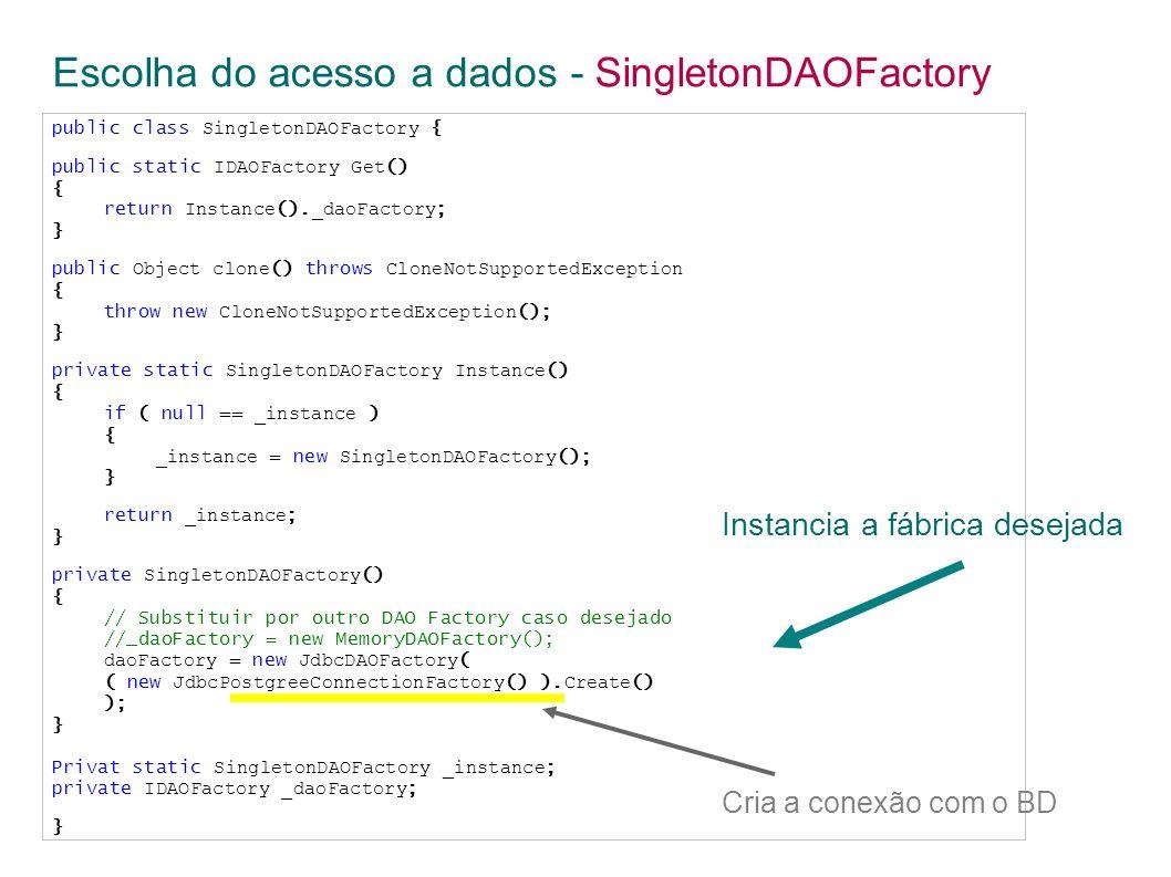 public class SingletonDAOFactory { public static IDAOFactory Get () { return Instance ().
