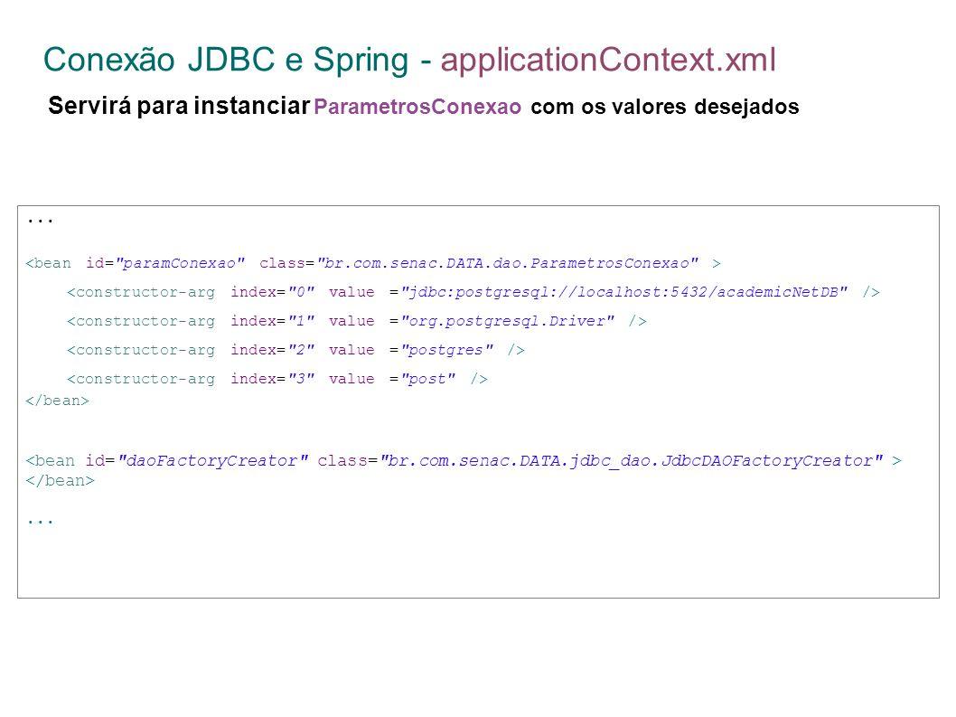 Conexão JDBC e Spring - applicationContext.xml Servirá para instanciar ParametrosConexao com os valores desejados......
