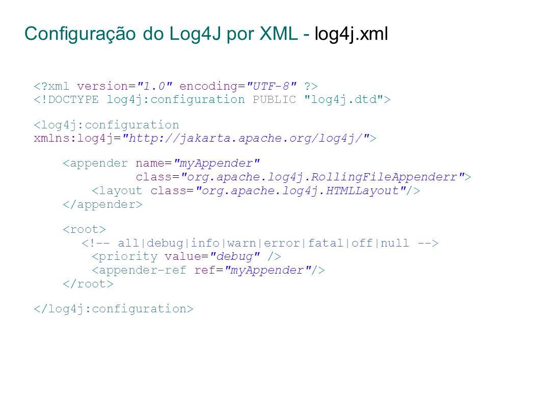 Configuração do Log4J por XML - log4j.xml <appender name= myAppender class= org.apache.log4j.RollingFileAppenderr >