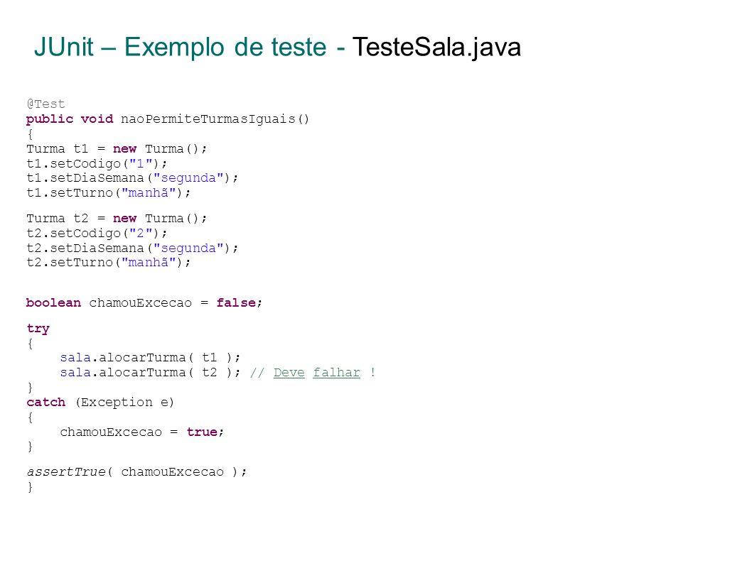 @Test public void naoPermiteTurmasIguais() { Turma t1 = new Turma(); t1.setCodigo( 1 ); t1.setDiaSemana( segunda ); t1.setTurno( manhã ); Turma t2 = new Turma(); t2.setCodigo( 2 ); t2.setDiaSemana( segunda ); t2.setTurno( manhã ); boolean chamouExcecao = false; try { sala.alocarTurma( t1 ); sala.alocarTurma( t2 ); // Deve falhar .