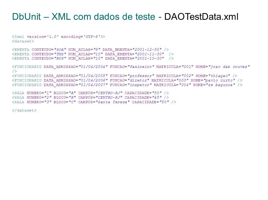 DbUnit – XML com dados de teste - DAOTestData.xml