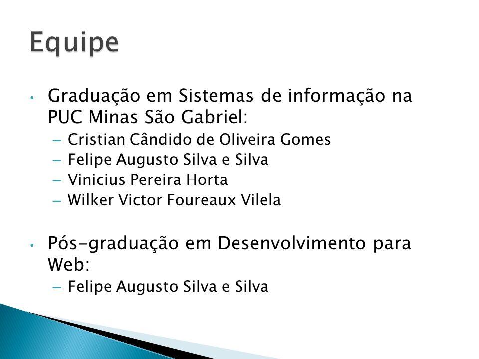 Graduação em Sistemas de informação na PUC Minas São Gabriel: – Cristian Cândido de Oliveira Gomes – Felipe Augusto Silva e Silva – Vinicius Pereira H