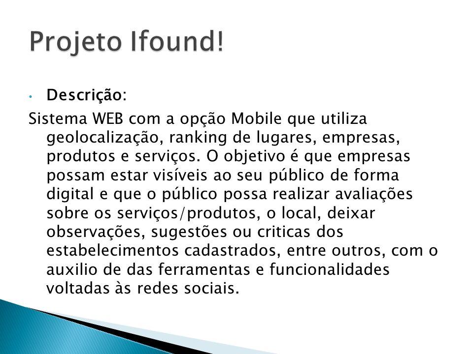 Descrição: Sistema WEB com a opção Mobile que utiliza geolocalização, ranking de lugares, empresas, produtos e serviços. O objetivo é que empresas pos