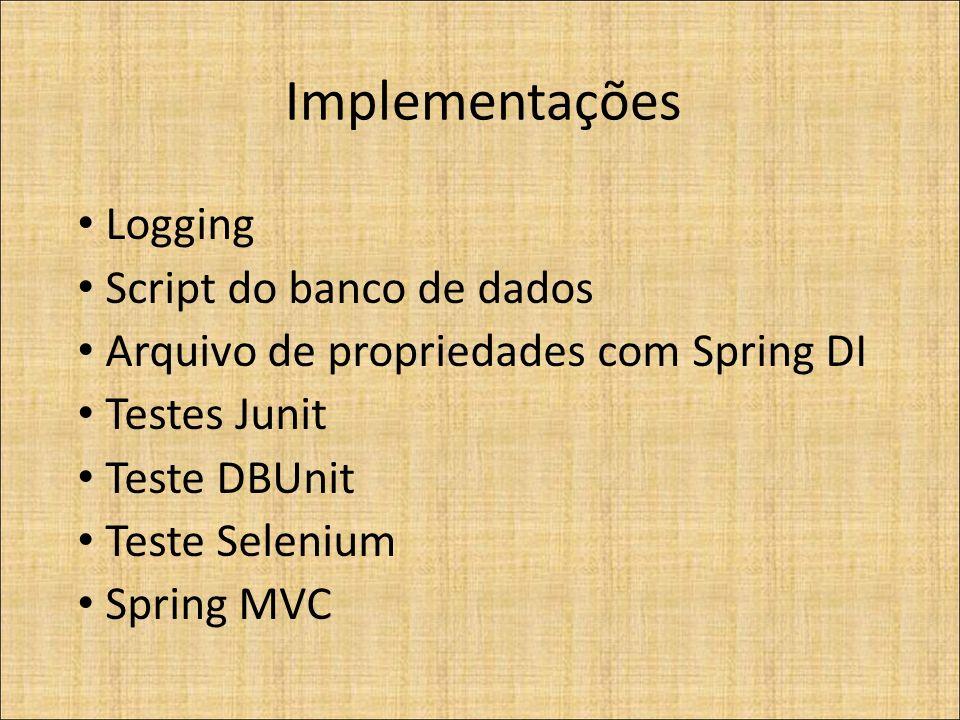 Implementações Logging Script do banco de dados Arquivo de propriedades com Spring DI Testes Junit Teste DBUnit Teste Selenium Spring MVC