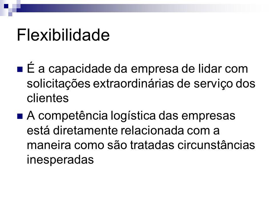 Flexibilidade É a capacidade da empresa de lidar com solicitações extraordinárias de serviço dos clientes A competência logística das empresas está di