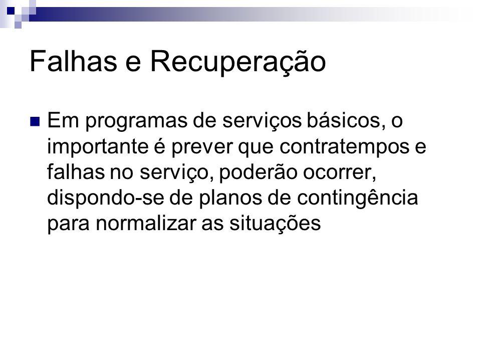 Falhas e Recuperação Em programas de serviços básicos, o importante é prever que contratempos e falhas no serviço, poderão ocorrer, dispondo-se de pla