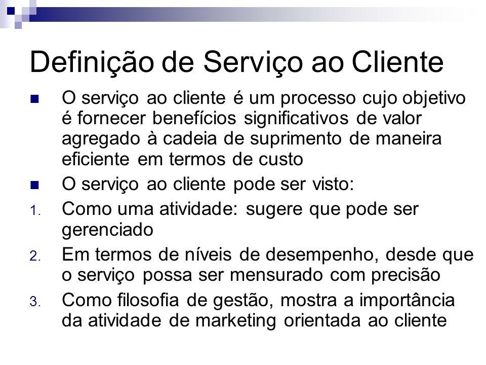 Definição de Serviço ao Cliente O serviço ao cliente é um processo cujo objetivo é fornecer benefícios significativos de valor agregado à cadeia de su