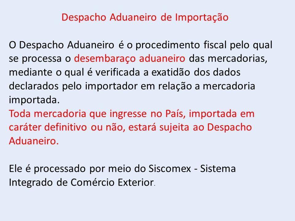 Despacho Aduaneiro de Importação O Despacho Aduaneiro é o procedimento fiscal pelo qual se processa o desembaraço aduaneiro das mercadorias, mediante