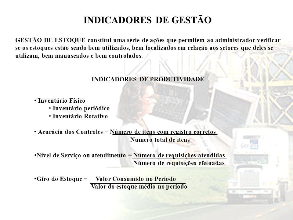 INDICADORES DE GESTÃO GESTÃO DE ESTOQUE constitui uma série de ações que permitem ao administrador verificar se os estoques estão sendo bem utilizados