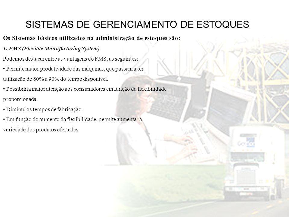 SISTEMAS DE GERENCIAMENTO DE ESTOQUES Os Sistemas básicos utilizados na administração de estoques são: 1. FMS (Flexible Manufacturing System) Podemos