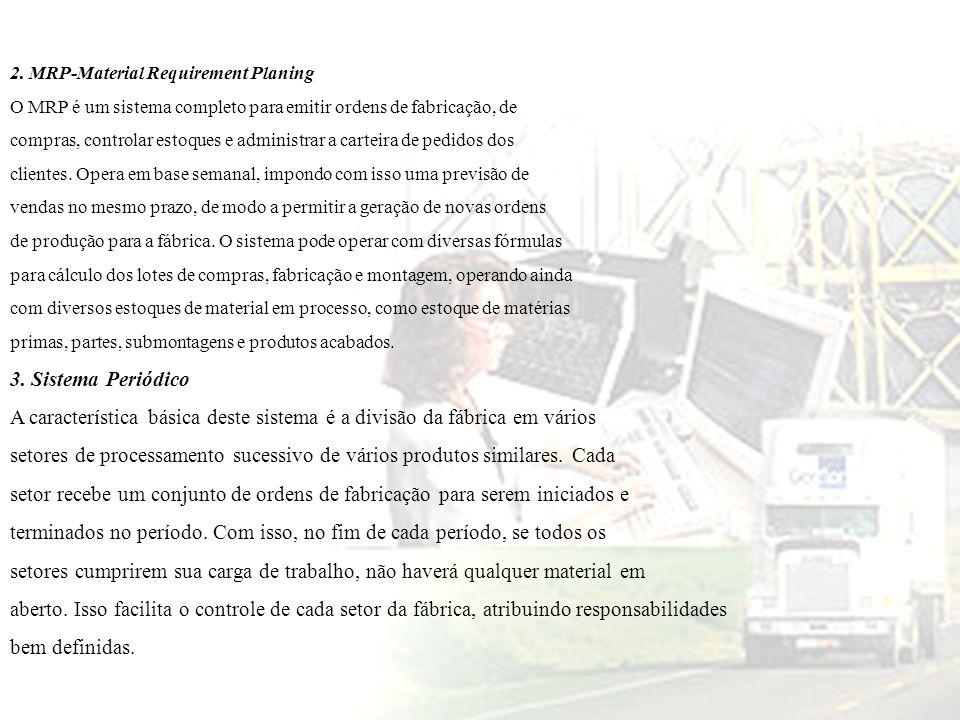 2. MRP-Material Requirement Planing O MRP é um sistema completo para emitir ordens de fabricação, de compras, controlar estoques e administrar a carte