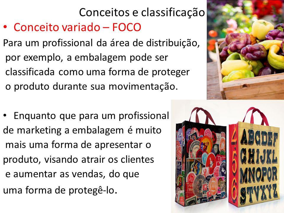 Conceitos e classificação Conceito variado – FOCO Para um profissional da área de distribuição, por exemplo, a embalagem pode ser classificada como uma forma de proteger o produto durante sua movimentação.