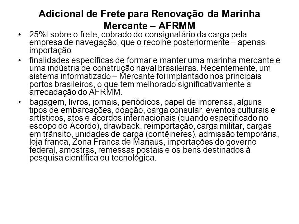 Adicional de Frete para Renovação da Marinha Mercante – AFRMM 25%l sobre o frete, cobrado do consignatário da carga pela empresa de navegação, que o recolhe posteriormente – apenas importação finalidades específicas de formar e manter uma marinha mercante e uma indústria de construção naval brasileiras.