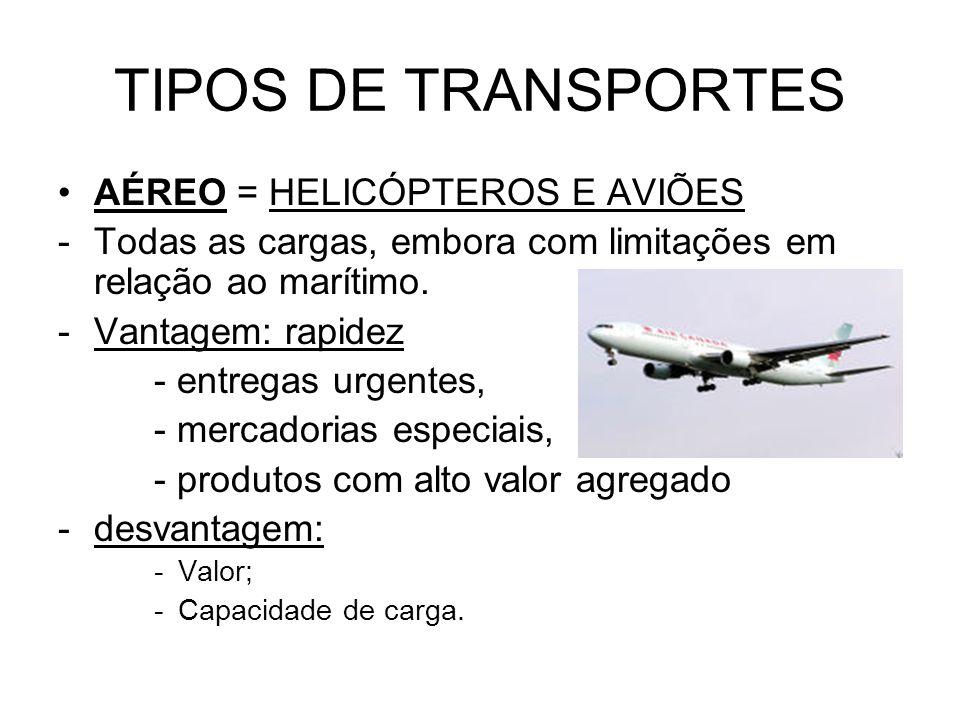 TIPOS DE TRANSPORTES AÉREO = HELICÓPTEROS E AVIÕES -Todas as cargas, embora com limitações em relação ao marítimo.