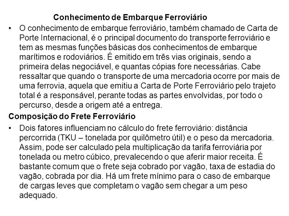 Conhecimento de Embarque Ferroviário O conhecimento de embarque ferroviário, também chamado de Carta de Porte Internacional, é o principal documento do transporte ferroviário e tem as mesmas funções básicas dos conhecimentos de embarque marítimos e rodoviários.