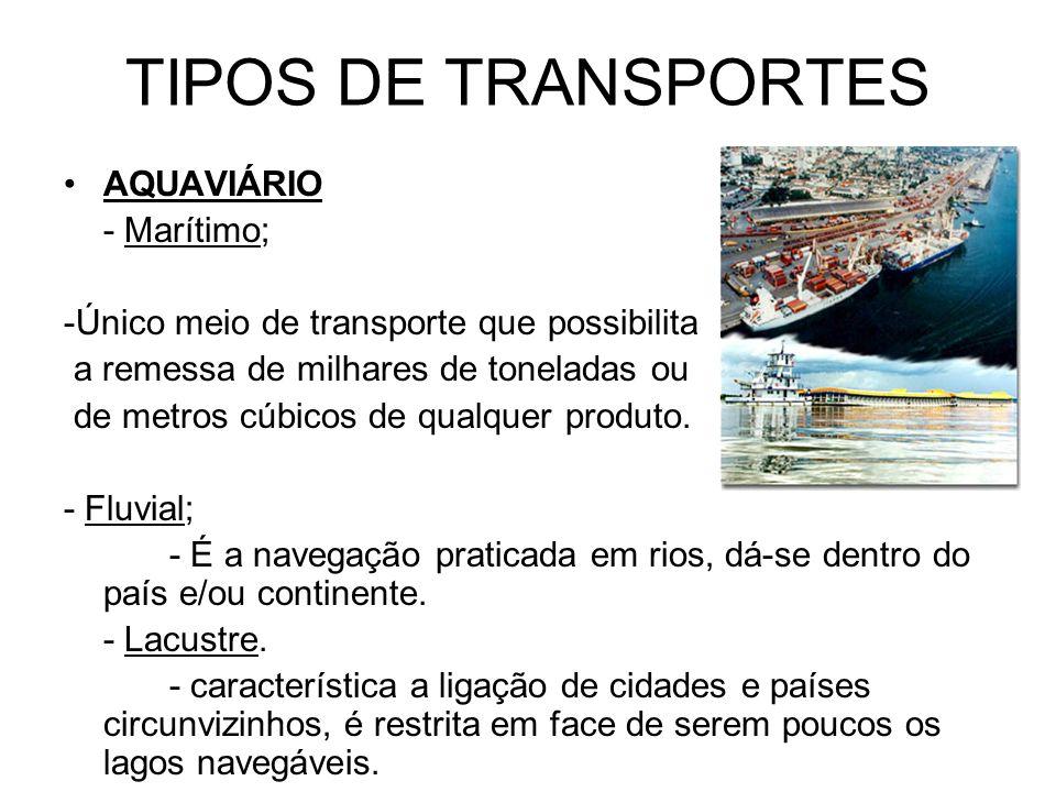 TIPOS DE TRANSPORTES TERRESTRE -RODOVIÁRIO - caracterizado pela facilidade.