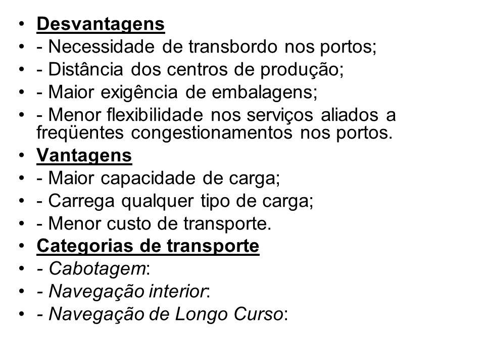 Tipos de navios a) Cargueiro, Convencional: para o transporte de carga geral, com os porões divididos de forma a atender diferentes tipos de carga.