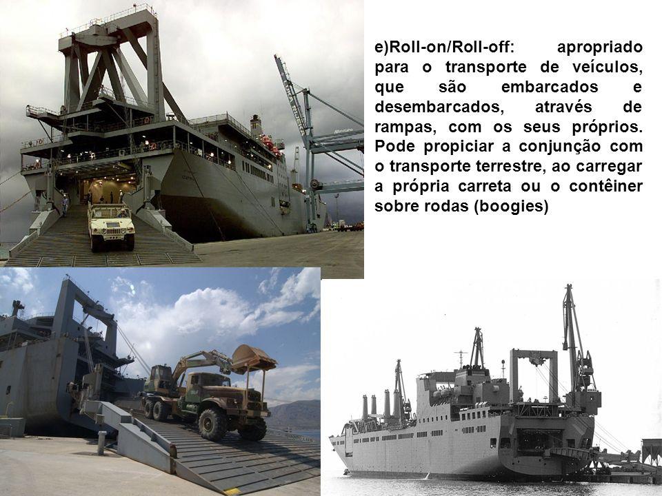f) Lash ou porta-barcaças: projetado para operar em portos congestionados, transporta, em seu interior, barcaças com capacidade de aproximadamente 400 t ou 600 m3, cada uma, as quais são embarcadas e desembarcadas na periferia do porto.