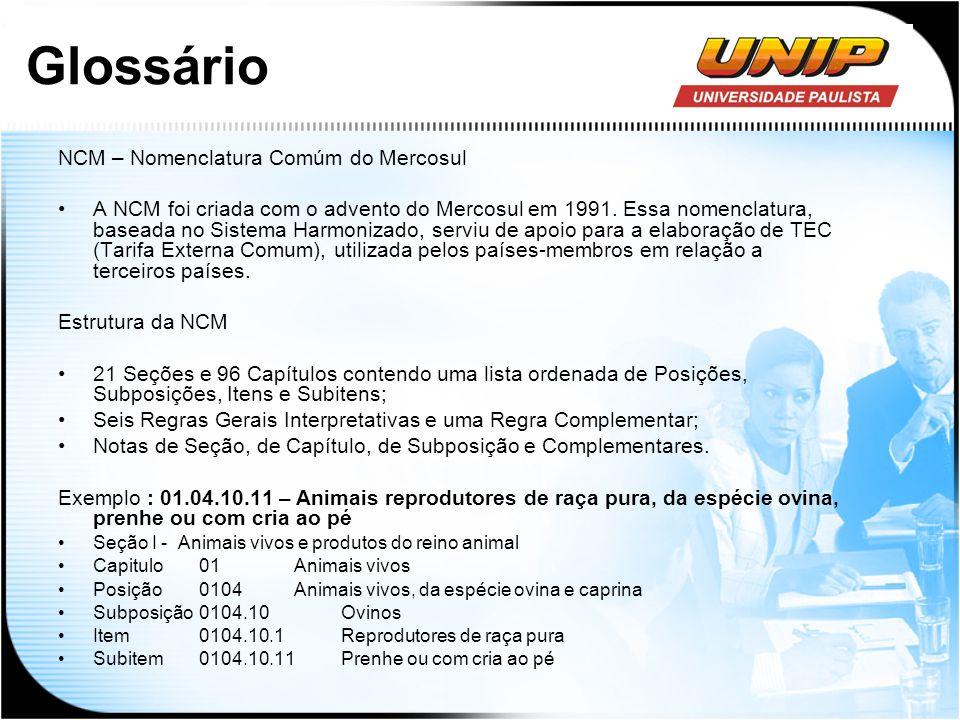 Glossário NCM – Nomenclatura Comúm do Mercosul A NCM foi criada com o advento do Mercosul em 1991. Essa nomenclatura, baseada no Sistema Harmonizado,