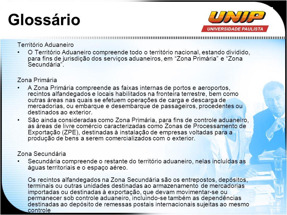 Glossário Território Aduaneiro O Território Aduaneiro compreende todo o território nacional, estando dividido, para fins de jurisdição dos serviços ad